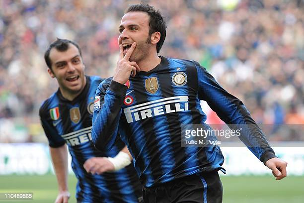 Giampaolo Pazzini of Inter Milan celebrates after scoring the opening goal during the Serie A match between FC Internazionale Milano and Lecce at...