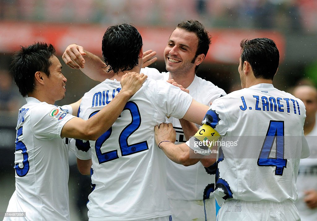 Giampaolo Pazzini of Inter Milan celebrates scoring during the Serie A match between FC Internazionale Milano and Catania Calcio at Stadio Giuseppe Meazza on May 22, 2011 in Milan, Italy.