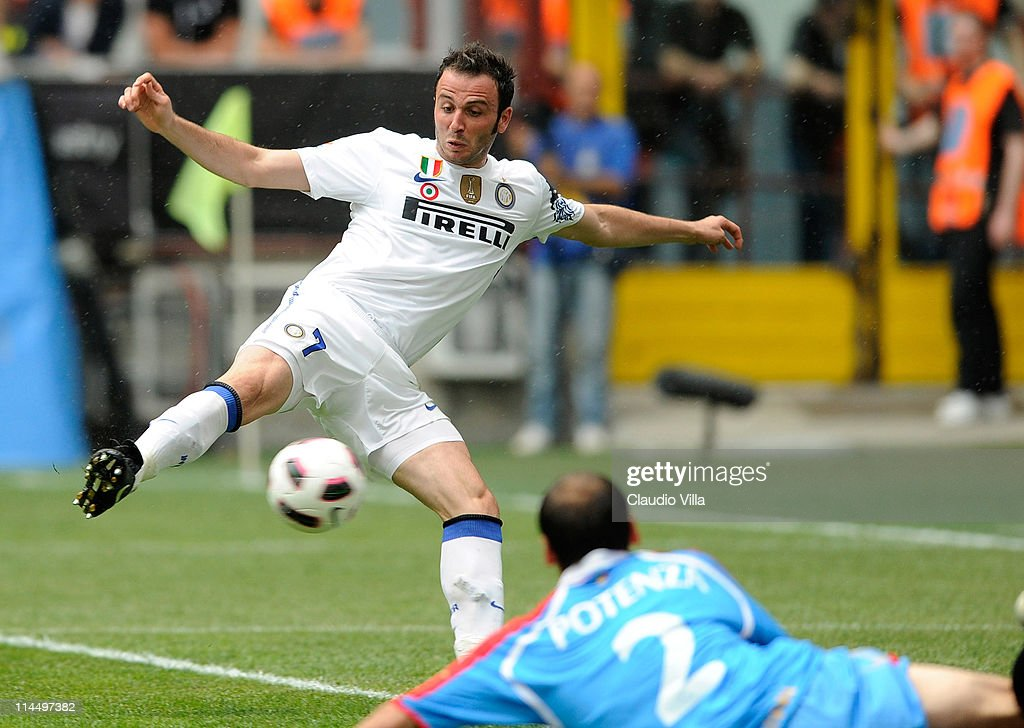 Giampaolo Pazzini of Inter Milan shoots to score during the Serie A match between FC Internazionale Milano and Catania Calcio at Stadio Giuseppe Meazza on May 22, 2011 in Milan, Italy.