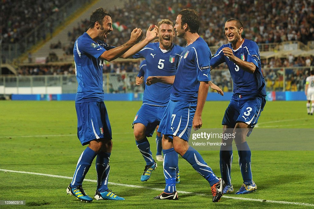 Giampaolo Pazzini (2nd R) of Italy celebrates with his team-mates after scoring during the UEFA EURO 2012 Group C qualifying match between Italy and Slovenia at Stadio Artemio Franchi on September 6, 2011 in Florence, Italy.