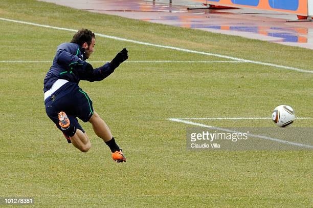 Giampaolo Pazzini of Italy in action during the friendly match between Italy and Settimo Torinese on May 30 2010 in Sestriere near Turin Italy
