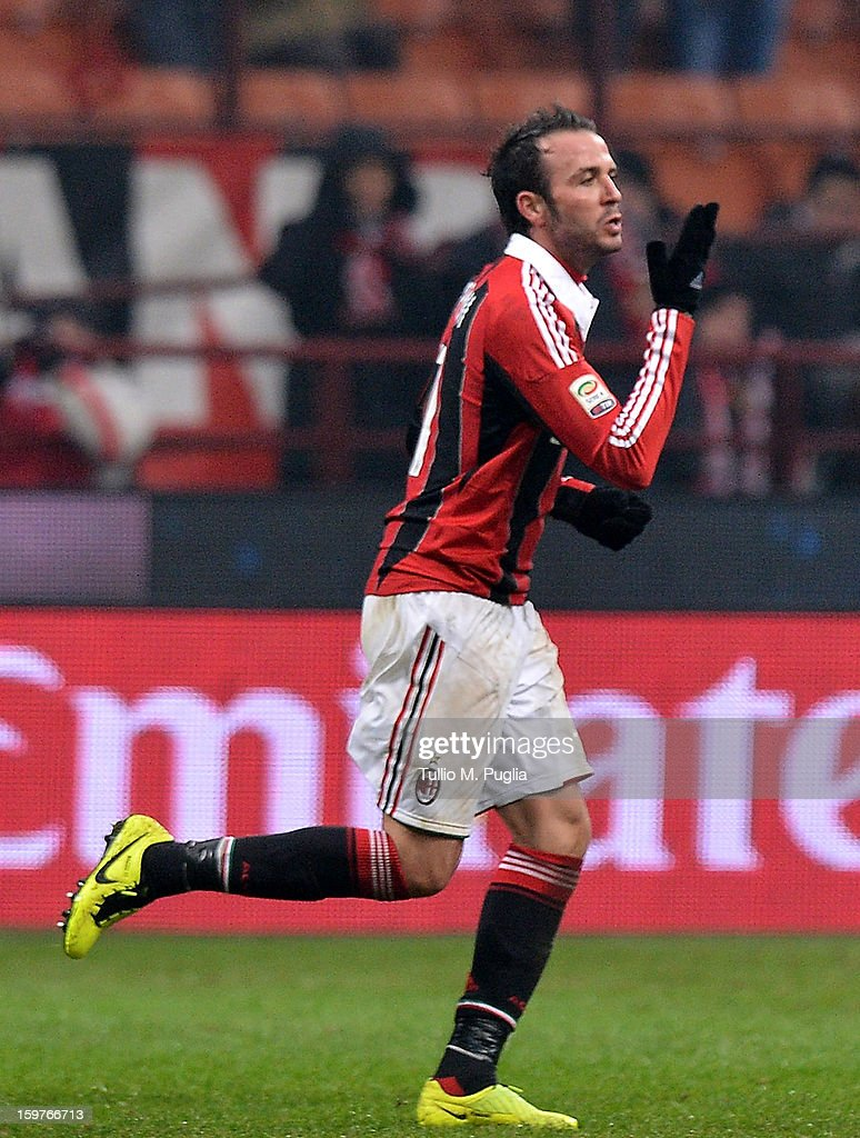 Giampaolo Pazzini (L) of Milan celebrates after scoring the opening goal during the Serie A match between AC Milan and Bologna FC at San Siro Stadium on January 20, 2013 in Milan, Italy.