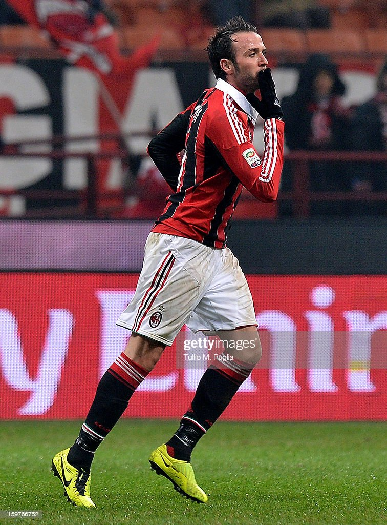 Giampaolo Pazzini of Milan celebrates after scoring the opening goal during the Serie A match between AC Milan and Bologna FC at San Siro Stadium on January 20, 2013 in Milan, Italy.