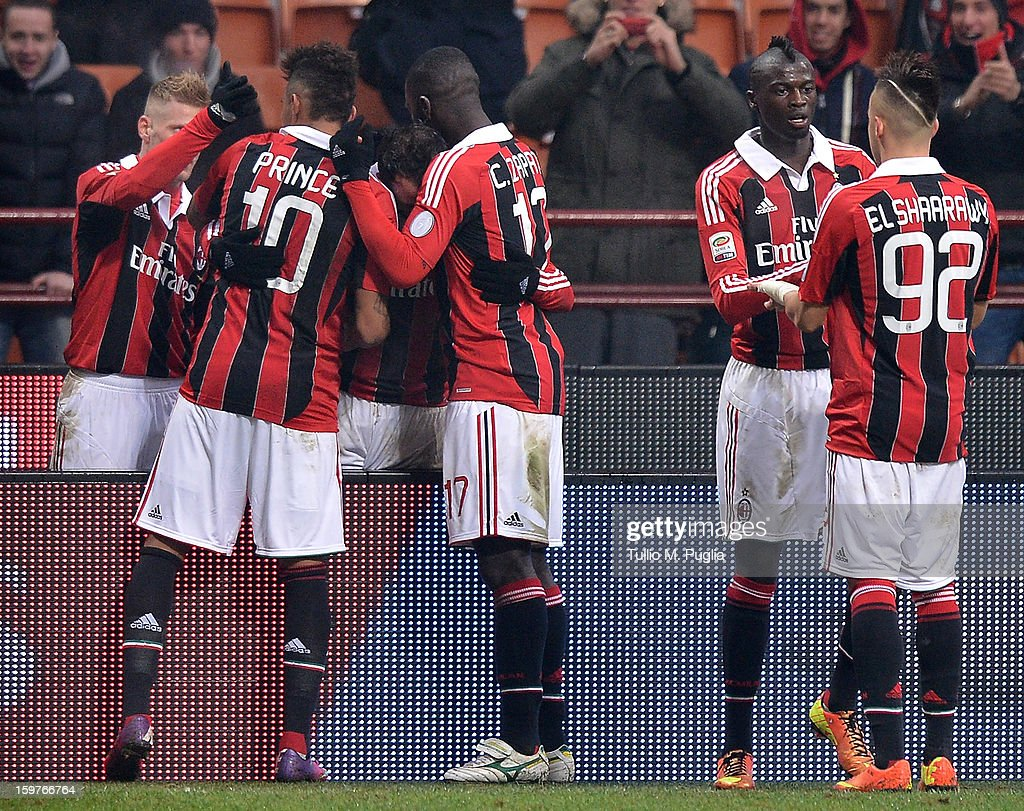 Giampaolo Pazzini (3rd L) of Milan celebrates with team mates after scoring the opening goal during the Serie A match between AC Milan and Bologna FC at San Siro Stadium on January 20, 2013 in Milan, Italy.