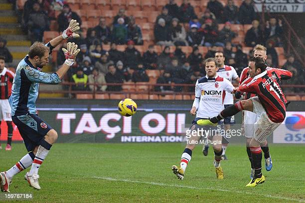 Giampaolo Pazzini of Milan scores his team's second goal during the Serie A match between AC Milan and Bologna FC at San Siro Stadium on January 20...