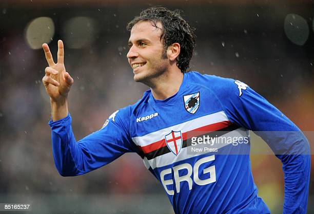 Giampaolo Pazzini of Sampdoria celebrates his strike during the Serie A match between Sampdoria and Milan at the Stadio Marassi on March 01 2009 in...