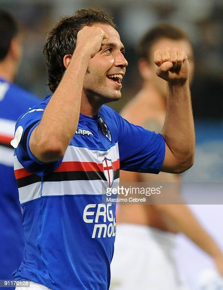 Giampaolo Pazzini of UC Sampdoria celebrates victory after the Serie A match between UC Sampdoria and FC Inter Milan at Stadio Luigi Ferraris on...