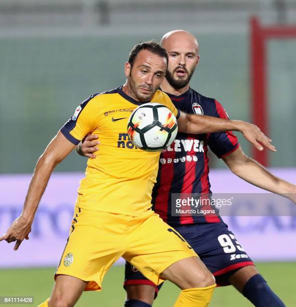Giampaolo Pazzini of Verona during the Serie A match between FC Crotone and Hellas Verona FC at Stadio Comunale Ezio Scida on August 27 2017 in...