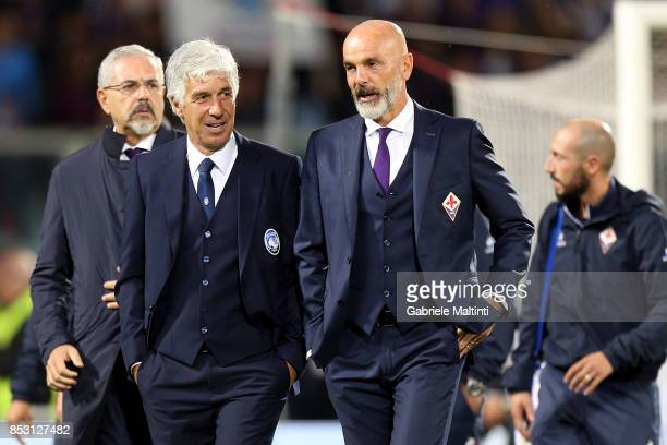 Giampiero Gasperini manager of Atalanta BC and Stefano Pioli manager of ACF Fiorentina during the Serie A match between FC Crotone and Benevento...