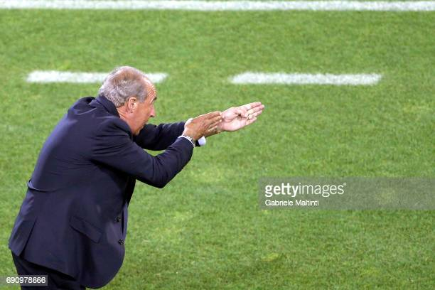 Giampiero Ventura manager of Italy gestures during International Friendly between Italy and San Marino at Stadio Carlo Castellani on May 31 2017 in...