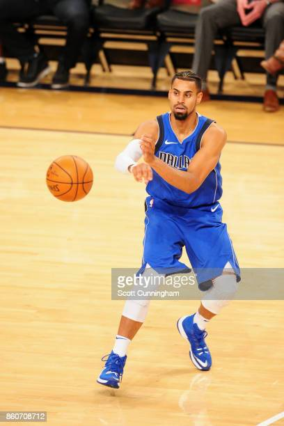Gian Clavell of the Dallas Mavericks passes the ball against the Atlanta Hawks on October 12 2017 at McCamish Pavilion in Atlanta Georgia NOTE TO...