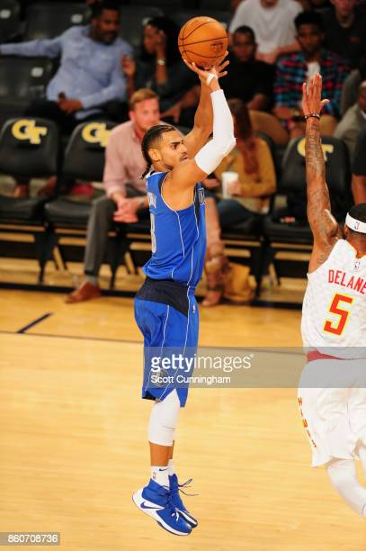 Gian Clavell of the Dallas Mavericks shoots the ball against the Atlanta Hawks on October 12 2017 at McCamish Pavilion in Atlanta Georgia NOTE TO...
