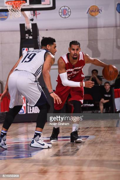 Gian Clavell of the Miami Heat drives to the basket during the 2017 Las Vegas Summer League game against the Dallas Mavericks on July 11 2017 at Cox...