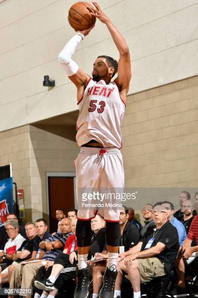 Gian Clavell of the Miami Heat shoots the ball against the Orlando Magic during the 2017 Summer League on July 2 2017 at Amway Center in Orlando...
