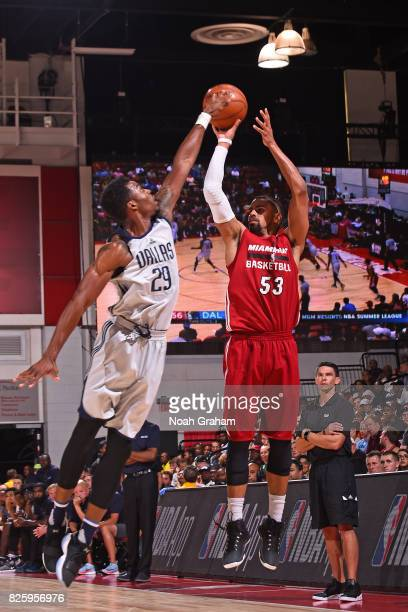 Gian Clavell of the Miami Heat shoots the ball during the 2017 Las Vegas Summer League game against the Dallas Mavericks on July 11 2017 at Cox...
