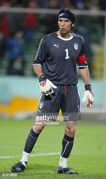 Gian Luigi Buffon of Italy in action during the international friendly between Italy and Belgium at the Artemio Franchi Stadium on May 30 2008 in...