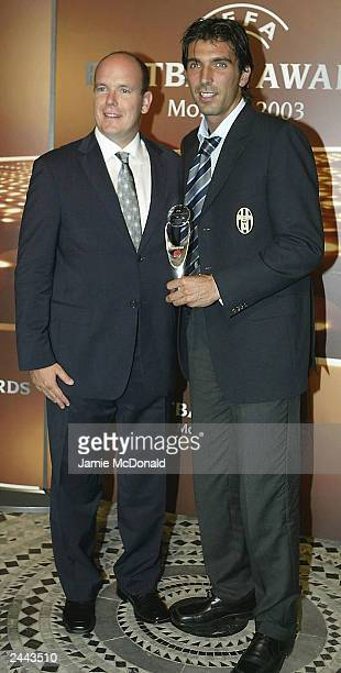 Gian Luigi Buffon of Juventus with his award and Prince Albert of Monaco during the UEFA Football awards at the Golf Sporting Club on August 28 2003...