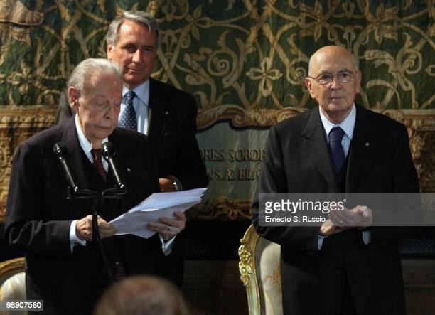 Gian Luigi Rondi and President Giorgio Napolitano attend the David di Donatello nominations at Quirinale on May 7 2010 in Rome Italy