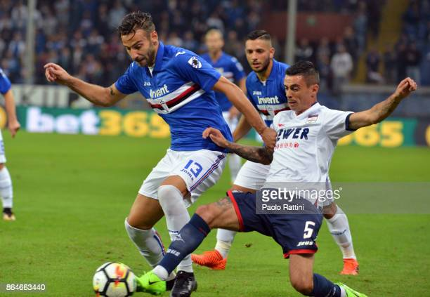 Gian Marco Ferrari and Adrian Stoian during the Serie A match between UC Sampdoria and FC Crotone at Stadio Luigi Ferraris on October 21 2017 in...