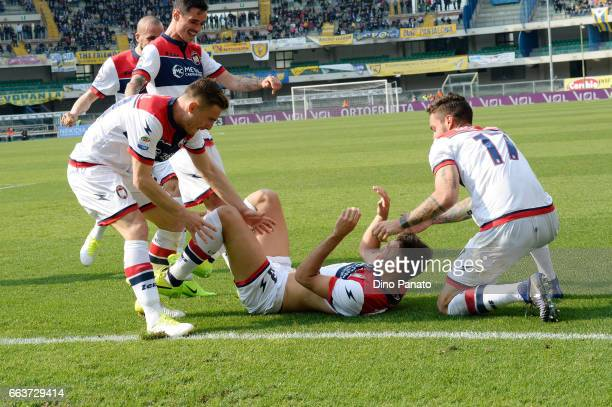 Gian Marco Ferrari of Crotone celebrates after scoring his opening goal during the Serie A match between AC ChievoVerona and FC Crotone at Stadio...
