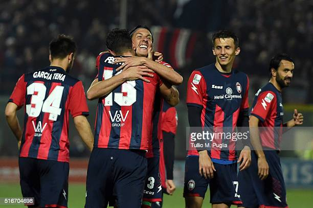 Gian Marco Ferrari of Crotone celebrates after scoring his team's fourth goal during the Serie B match between FC Crotone and Pescara Calcio at...
