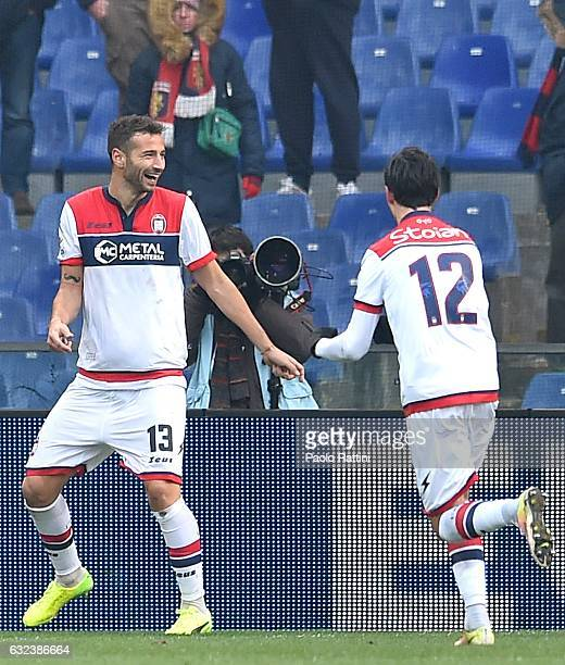 Gian Marco Ferrari of Crotone celebrating with Adrian Marius Stoian after equalizing during the Serie A match between Genoa CFC and FC Crotone at...