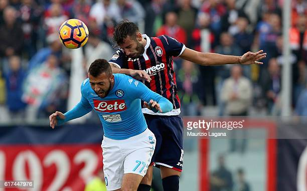 Gian Marco Ferrari of Crotone competes for the ball in air with Omar El Kaddouri of Napoli during the Serie A match between FC Crotone and SSC Napoli...