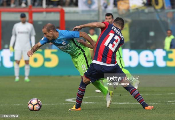 Gian Marco Ferrari of Crotone competes for the ball with Rodrigo Palacio of Inter during the Serie A match between FC Crotone and FC Internazionale...