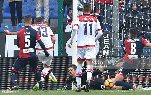 Gian Marco Ferrari of Crotone scores a goal during the Serie A match between Genoa CFC and FC Crotone at Stadio Luigi Ferraris on January 22 2017 in...