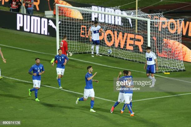Gian Marco Ferrari of Italy celebrates after scoring a goal during International Friendly between Italy and San Marino at Stadio Carlo Castellani on...