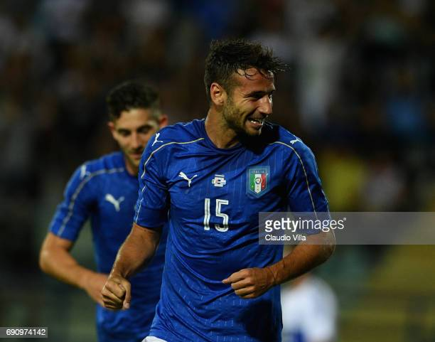 Gian Marco Ferrari of Italy celebrates after scoring the second goal during the international friendy match played between Italy and San Marino at...