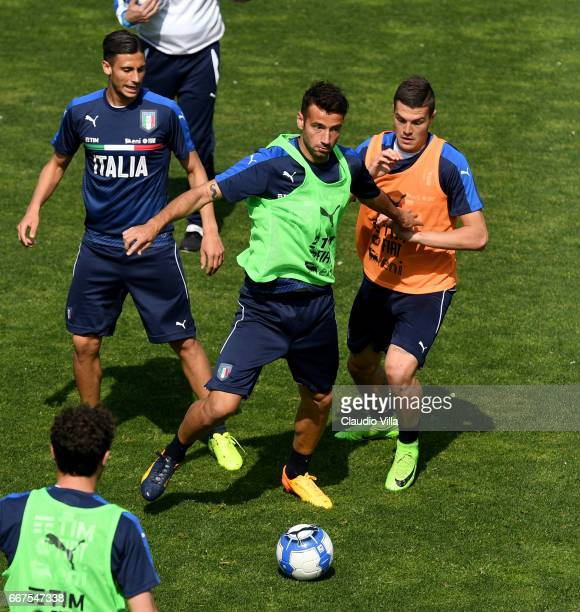 Gian Marco Ferrari of Italy in action during the training session at the club's training ground at Coverciano on April 12 2017 in Florence Italy