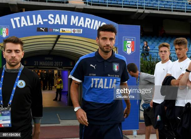 Gian Marco Ferrari of Italy looks on prior to the international friendy match played between Italy and San Marino at Stadio Carlo Castellani on May...
