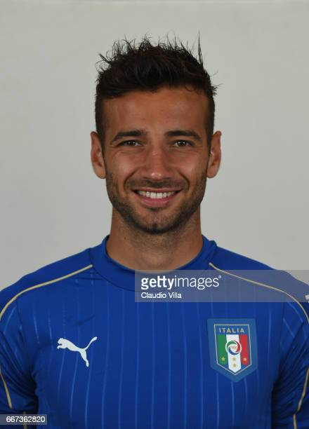 Gian Marco Ferrari of Italy poses during the official portrait session after the training session at the club's training ground at Coverciano at...