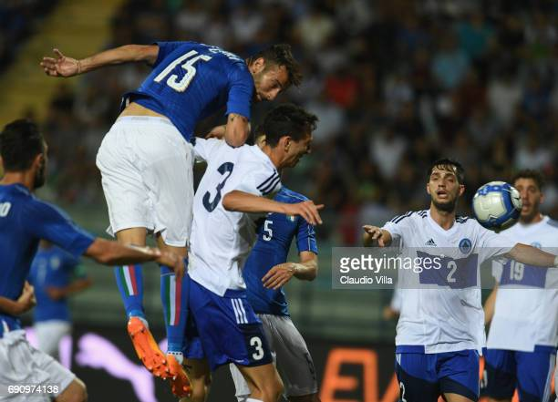 Gian Marco Ferrari of Italy scores the second goal during the international friendy match played between Italy and San Marino at Stadio Carlo...