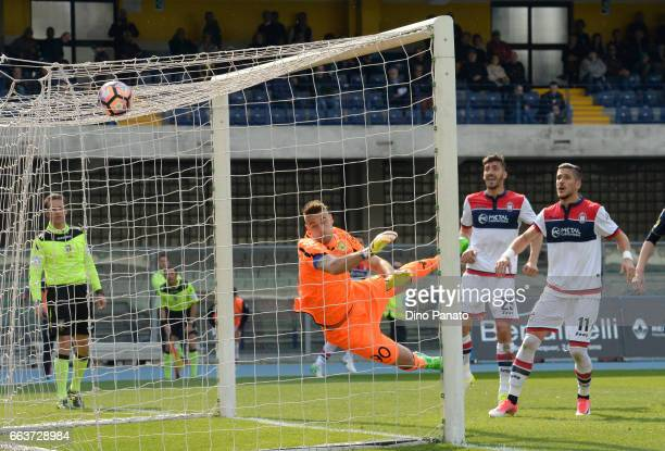 Gian Marco Ferrari scores his team's first goal during the Serie A match between AC ChievoVerona and FC Crotone at Stadio Marc'Antonio Bentegodi on...