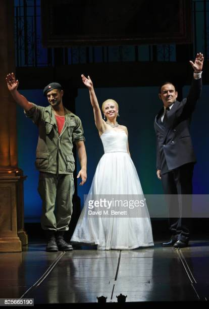 Gian Marco Schiaretti Emma Hatton and Kevin StephenJones bow at the curtain call during the press night performance of 'Evita' at The Phoenix Theatre...