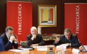 Gian Piero Cutillo chief financial officer of Finmeccanica SpA left Guido Venturoni vice chairman of Finmeccanica SpA center and Alessandro Pansa...