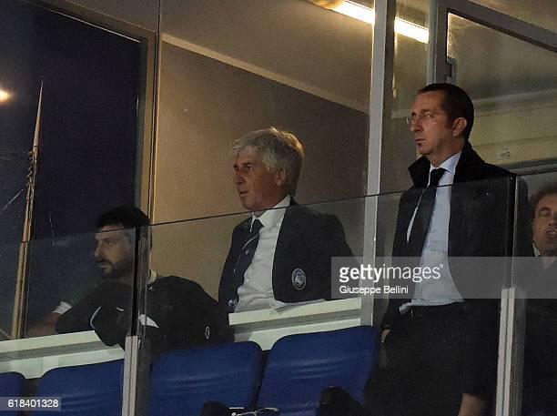 Gian Piero Gasperini head coach of Atalanta BC inside the box because disqualified during the Serie A match between Pescara Calcio and Atalanta BC at...