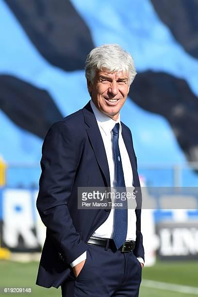 Gian Piero Gasperini Head Coach of Atalanta BC looks during the Serie A match between Atalanta BC and Genoa CFC at Stadio Atleti Azzurri d'Italia on...