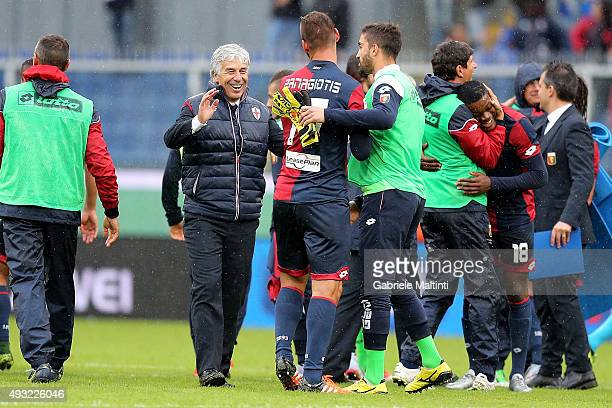 Gian Piero Gasperini Panagiotis Tachtsidis of Genoa CFC celebrates the victory after the Serie A match between Genoa CFC and AC Chievo Verona at...