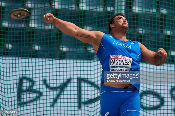 Gian Piero Ragonesi from Italy competes in men's discus throw final during Day 4 of European Athletics U23 Championships 2017 at Zawisza Stadium on...
