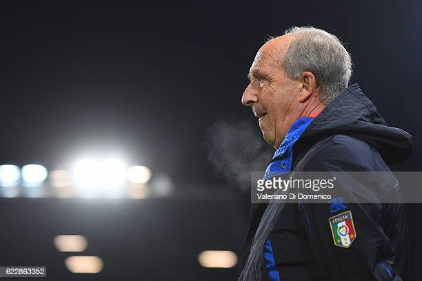 Gian Piero Ventura Coach of Italy looks on during the FIFA 2018 World Cup Qualifier between Liechtenstein and Italy at at Rheinpark Stadion on...