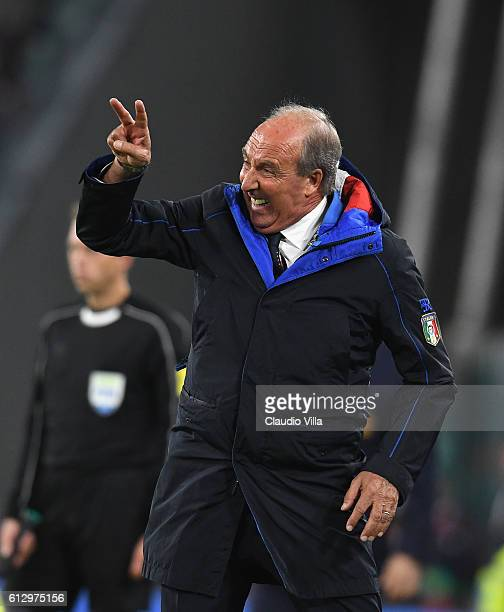 Gian Piero Ventura coach of Italy reacts during the FIFA 2018 World Cup Qualifier between Italy and Spain at Juventus Stadium on October 6 2016 in...