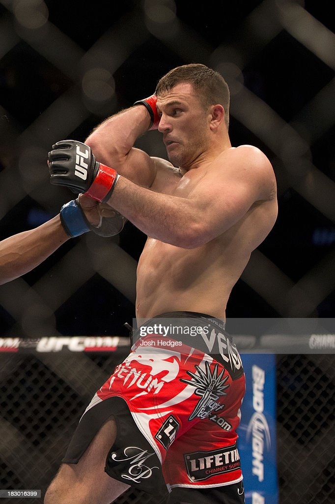 Gian Villante faces Ovince Saint Preux (not pictured) in their light heavyweight fight during the UFC 159 event at the Prudential Center on April 27, 2013 in Newark, New Jersey.
