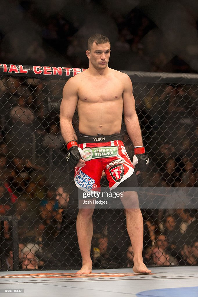 Gian Villante waits in his corner prior to facing Ovince Saint Preux (not pictured) in their light heavyweight fight during the UFC 159 event at the Prudential Center on April 27, 2013 in Newark, New Jersey.