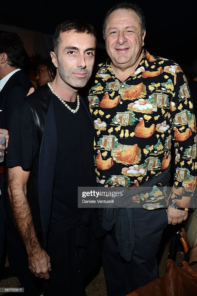 Gianbattista Valli and Jean Pigozzi attend Chanel beachside BBQ celebrating Art.sy at Soho Beach House on December 5, 2012 in Miami Beach, Florida.