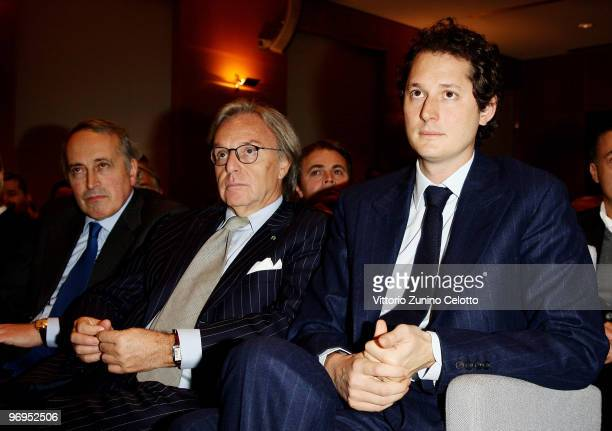 Giancarlo Abete Diego Della Valle John Elkann attend the Candido Day Gala Event held at Sala Buzzati on February 22 2010 in Milan Italy