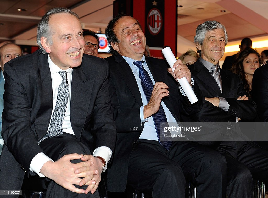 Giancarlo Abete Italian FGCI president, UEFA president Michel Platini and former AC Milan player Gianni Rivera during UEFA President's Award at Giuseppe Meazza Stadium on March 12, 2012 in Milan, Italy.