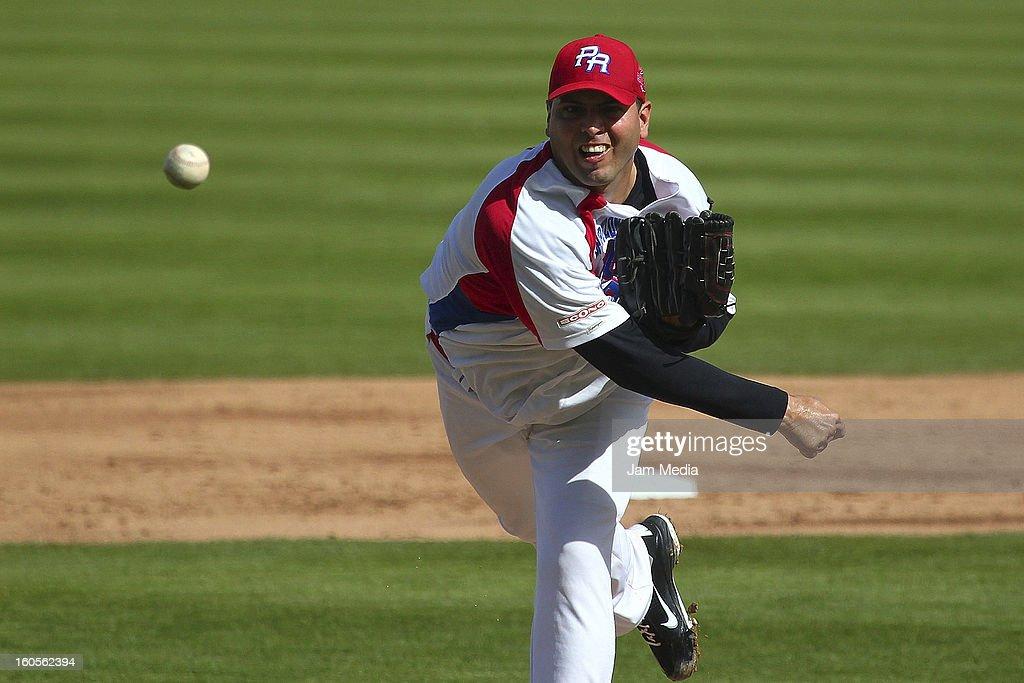 Giancarlo Alvarado, pitcher of Puerto Rico during the Caribbean Series Baseball 2013 in Sonora Stadium on february 2, 2013 in Hermosillo, Mexico.
